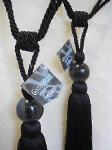 Black ball curtain tassel tiebacks  PER PAIR  Tass  26cm Embrace 78cm tie backs